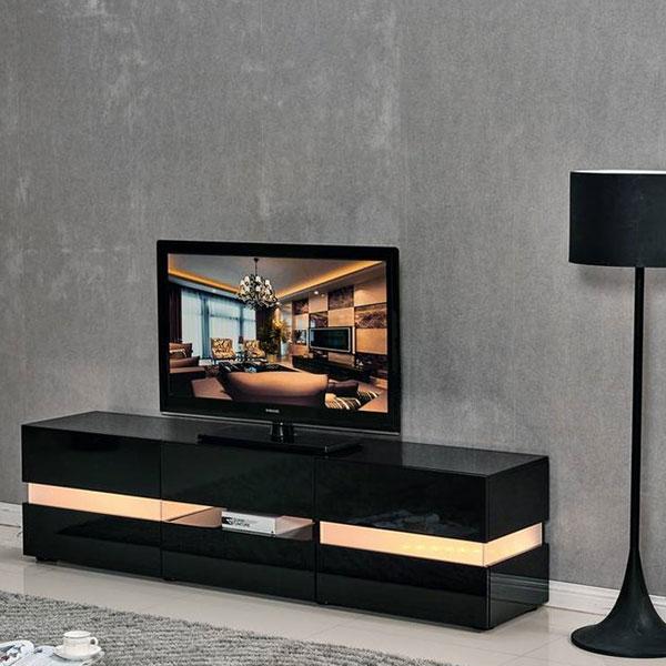 meuble tv LED vida noir laqué